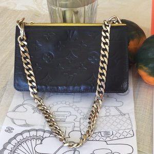 Authentic LV Vernis Lexington pochette, dyed black